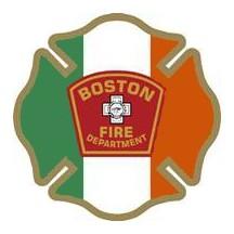 "4"" Window Decals Boston Fire Department - Irish"