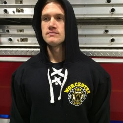 Worcester Fire - Old Style Lace Up Hooded Sweatshirt - Hockey