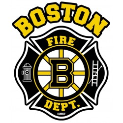 "2"" Helmet Decals Boston Fire Hockey - No Quantity Discount"